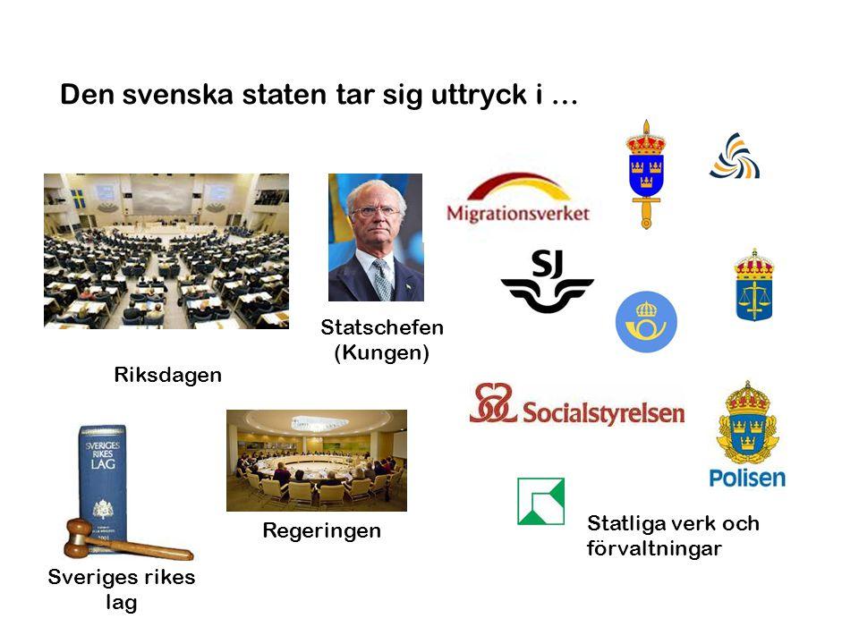 Den svenska staten tar sig uttryck i …