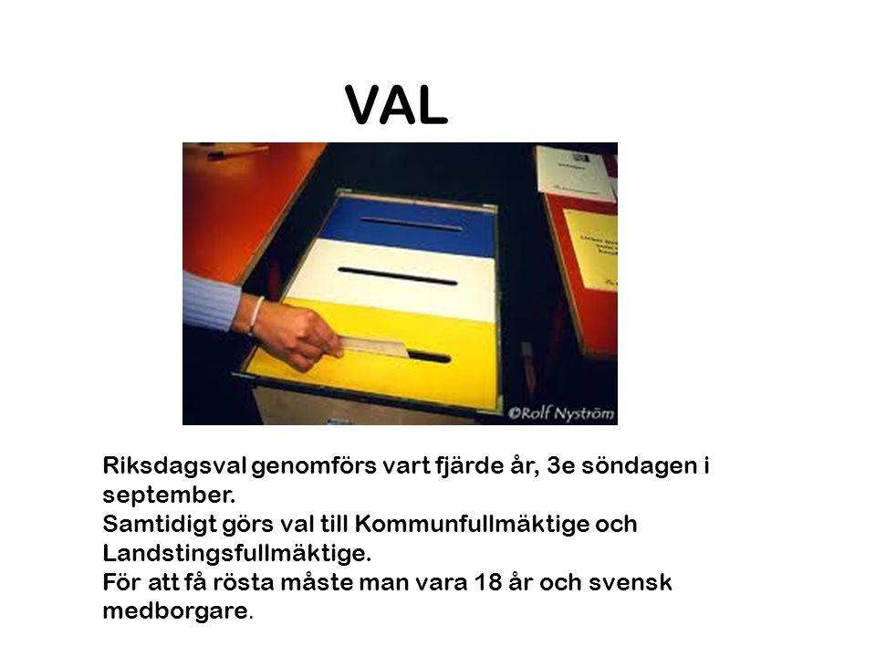 VAL Riksdagsval genomförs vart fjärde år, 3e söndagen i september.