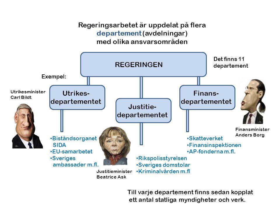 Regeringsarbetet är uppdelat på flera departement (avdelningar)