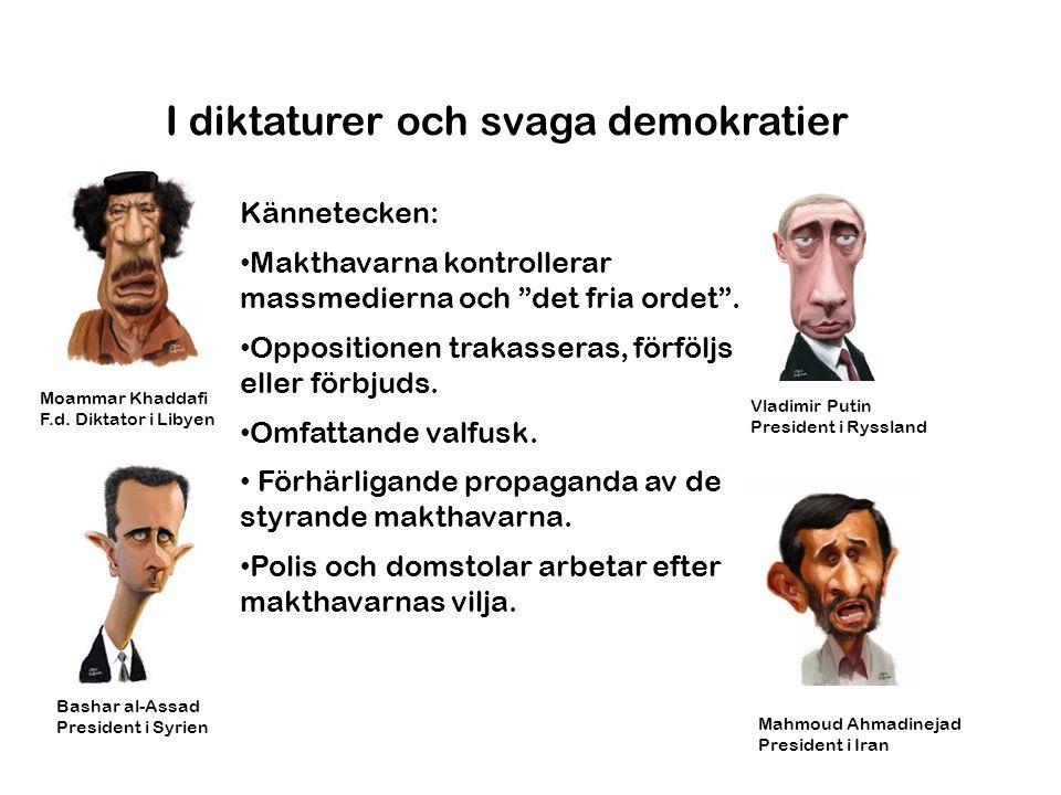 I diktaturer och svaga demokratier