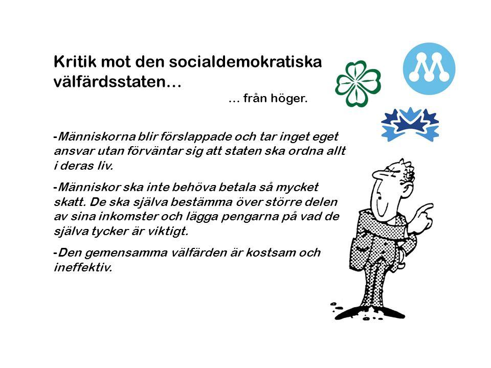 Kritik mot den socialdemokratiska välfärdsstaten…