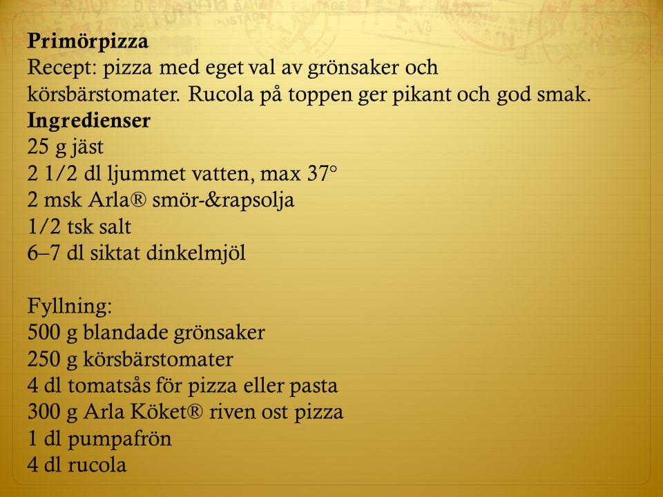 Primörpizza Recept: pizza med eget val av grönsaker och körsbärstomater. Rucola på toppen ger pikant och god smak.
