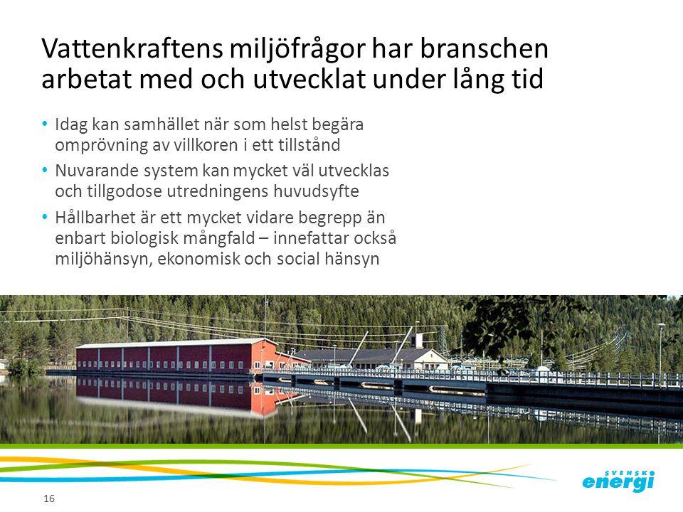 Vattenkraftens miljöfrågor har branschen arbetat med och utvecklat under lång tid