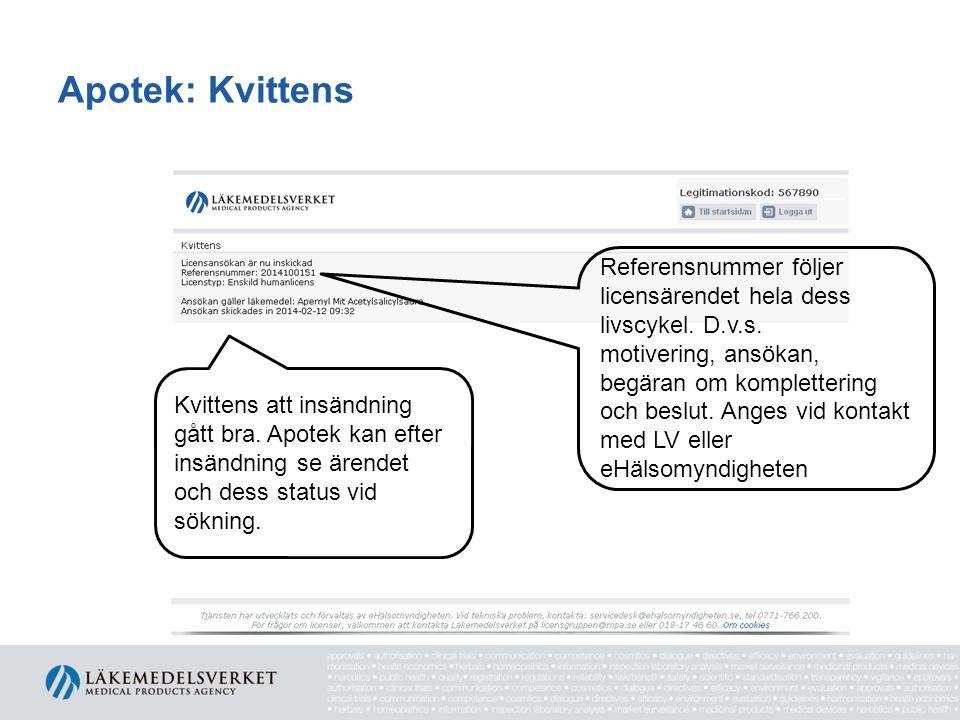 Apotek: Kvittens Referensnummer följer licensärendet hela dess livscykel. D.v.s.