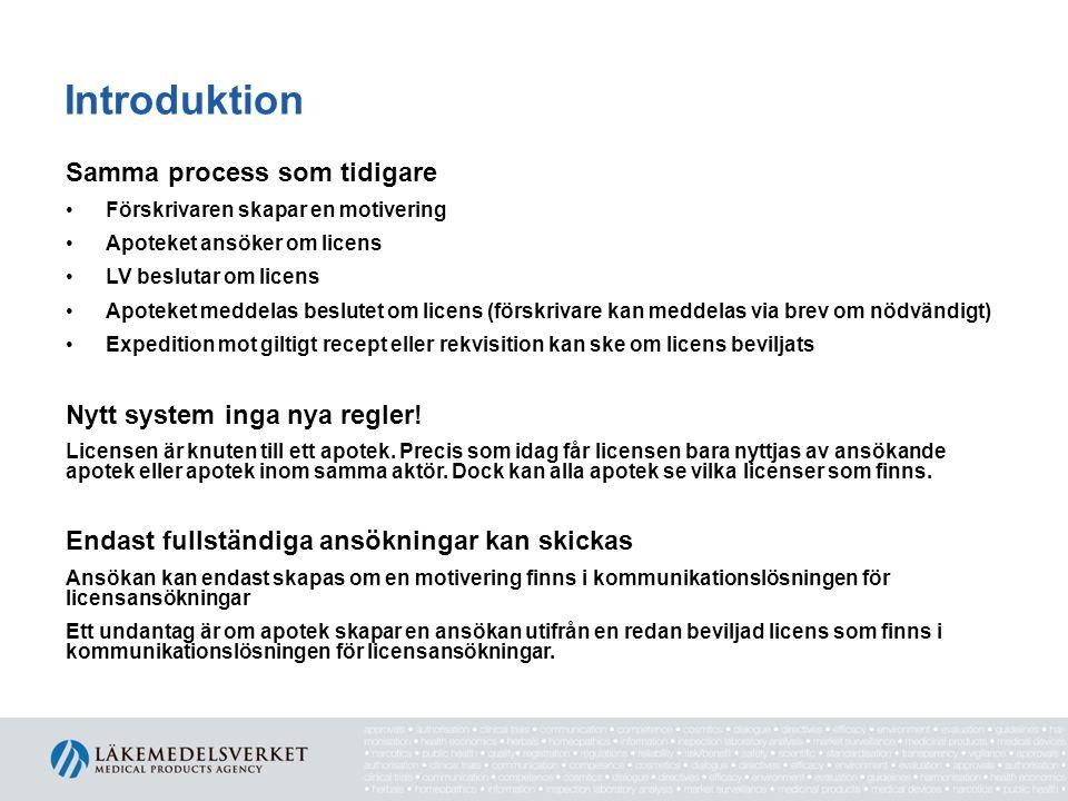 Introduktion Samma process som tidigare Nytt system inga nya regler!