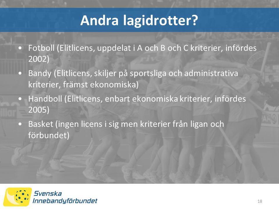 Andra lagidrotter Fotboll (Elitlicens, uppdelat i A och B och C kriterier, infördes 2002)