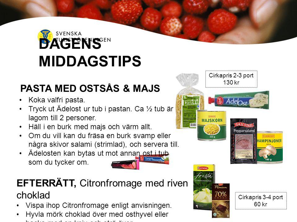 DAGENS MIDDAGSTIPS PASTA MED OSTSÅS & MAJS