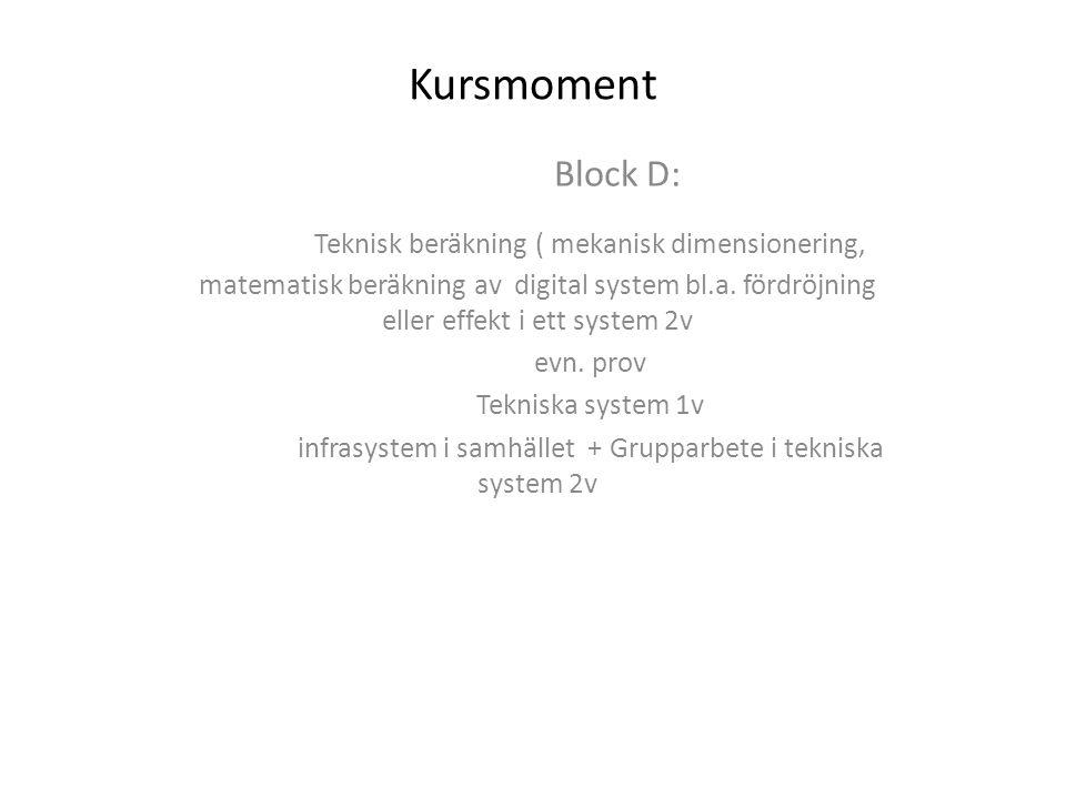 infrasystem i samhället + Grupparbete i tekniska system 2v
