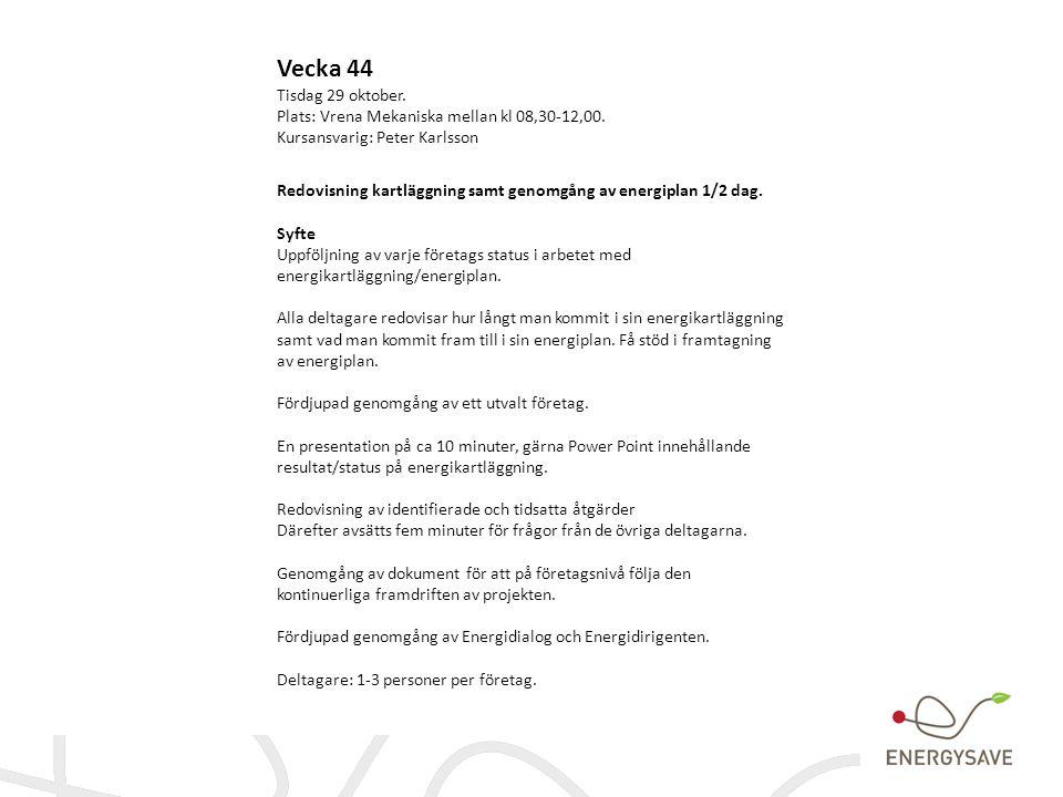 Vecka 44 Tisdag 29 oktober. Plats: Vrena Mekaniska mellan kl 08,30-12,00. Kursansvarig: Peter Karlsson.