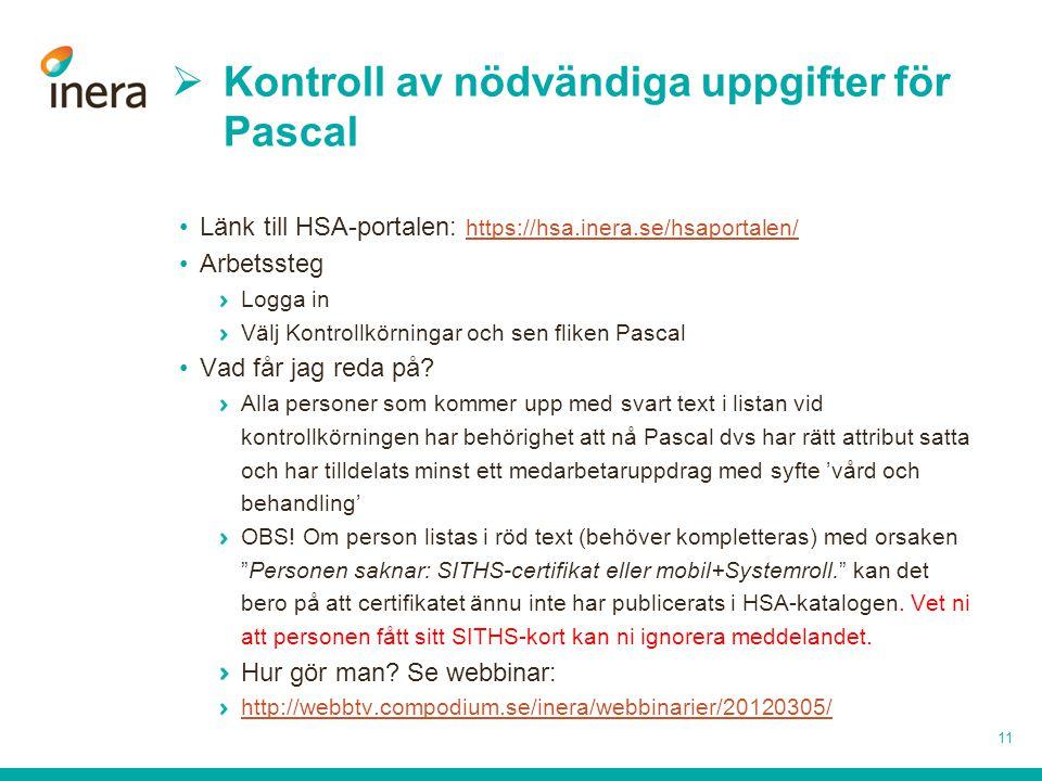 Kontroll av nödvändiga uppgifter för Pascal