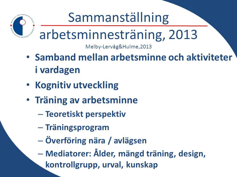 Sammanställning arbetsminnesträning, 2013 Melby-Lervåg&Hulme,2013