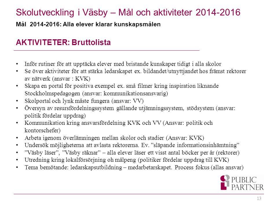 Skolutveckling i Väsby – Mål och aktiviteter 2014-2016