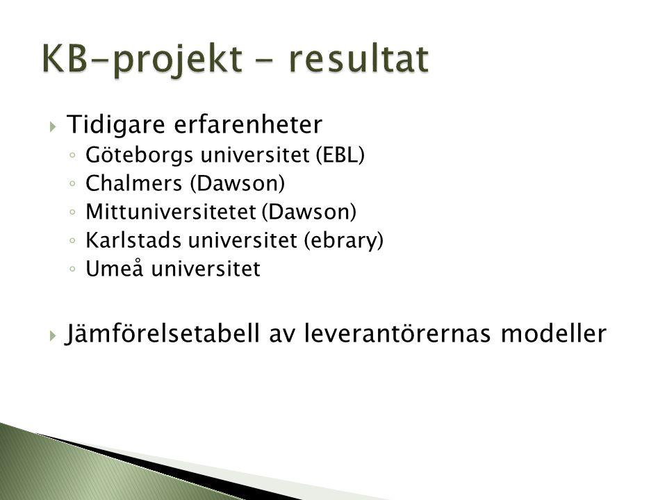 KB-projekt - resultat Tidigare erfarenheter