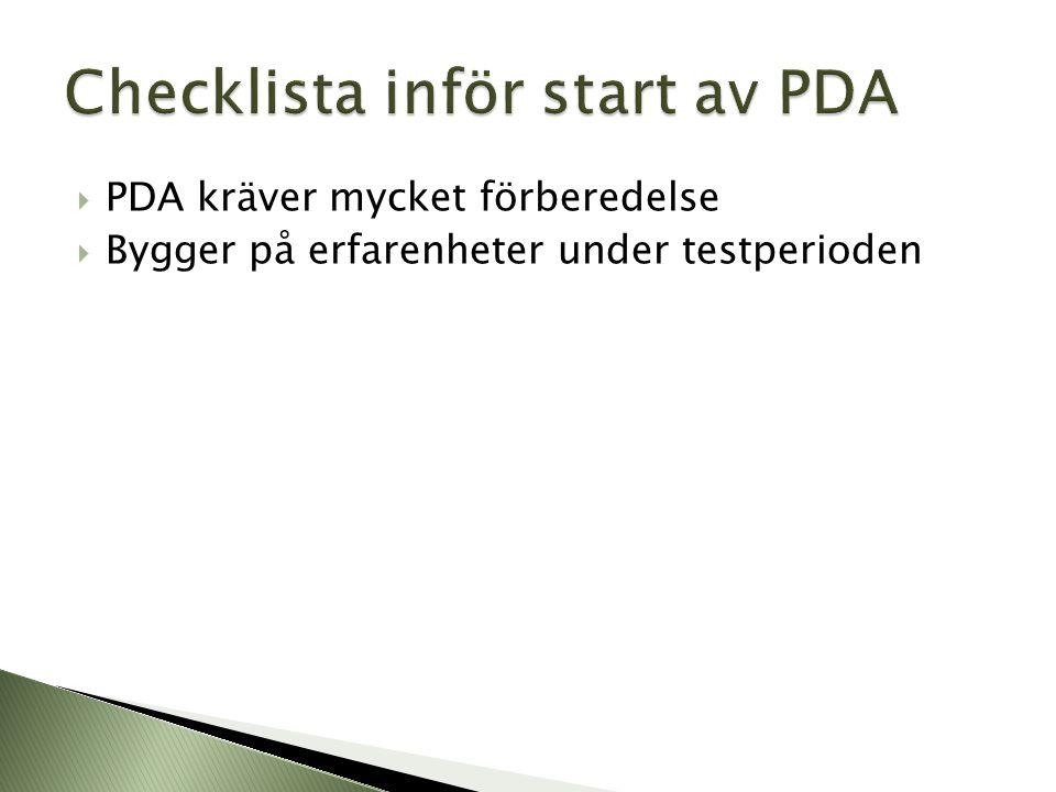 Checklista inför start av PDA