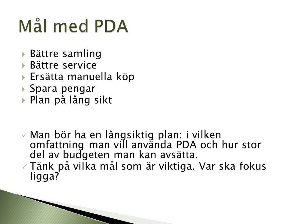 Mål med PDA Bättre samling Bättre service Ersätta manuella köp