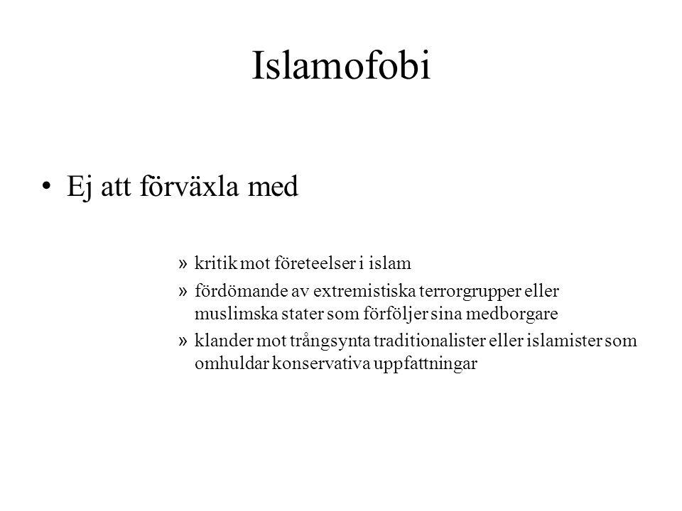 Islamofobi Ej att förväxla med kritik mot företeelser i islam
