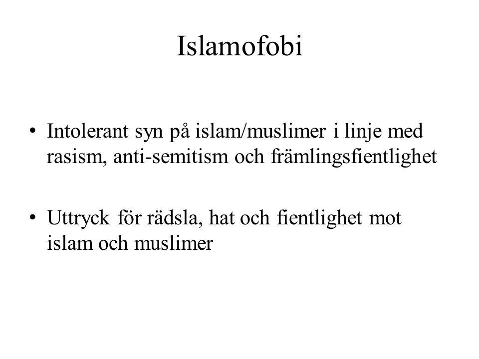 Islamofobi Intolerant syn på islam/muslimer i linje med rasism, anti-semitism och främlingsfientlighet.