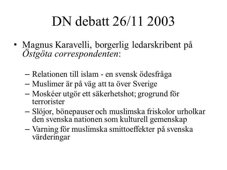 DN debatt 26/11 2003 Magnus Karavelli, borgerlig ledarskribent på Östgöta correspondenten: Relationen till islam - en svensk ödesfråga.