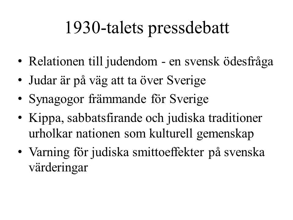 1930-talets pressdebatt Relationen till judendom - en svensk ödesfråga