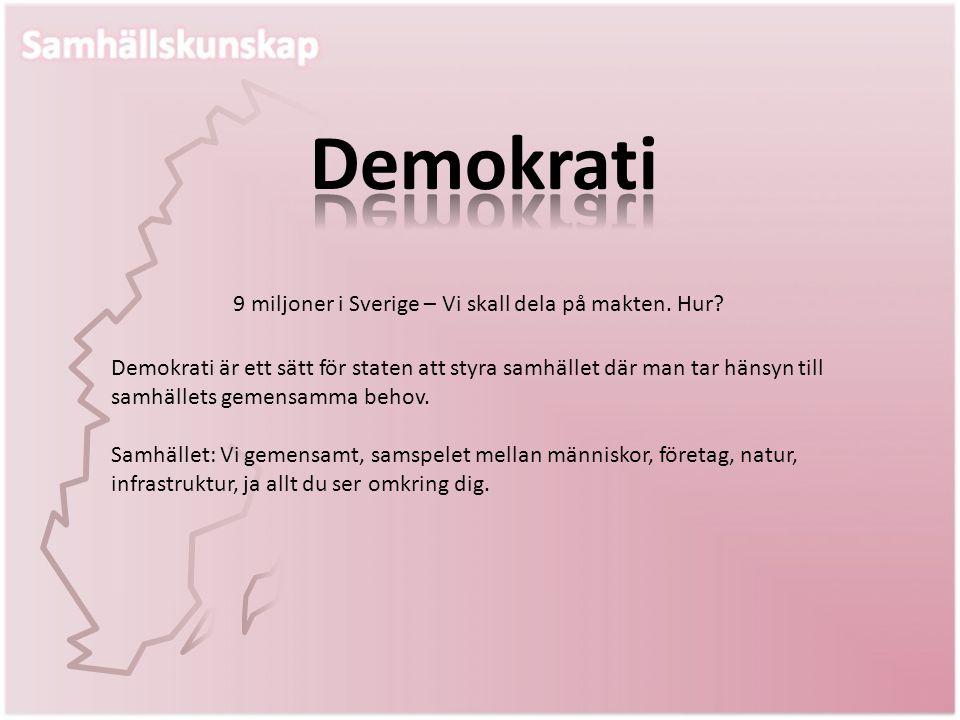 Demokrati 9 miljoner i Sverige – Vi skall dela på makten. Hur