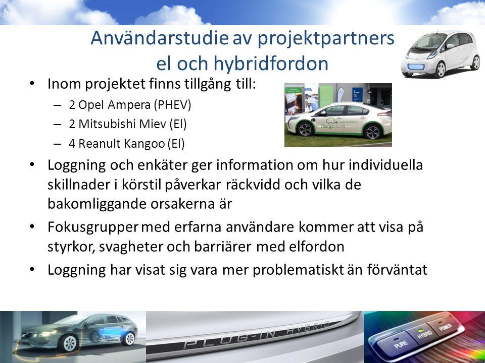 Användarstudie av projektpartners el och hybridfordon