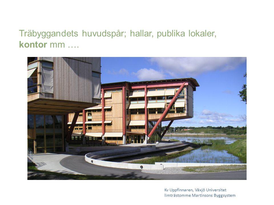 Träbyggandets huvudspår; hallar, publika lokaler, kontor mm ….