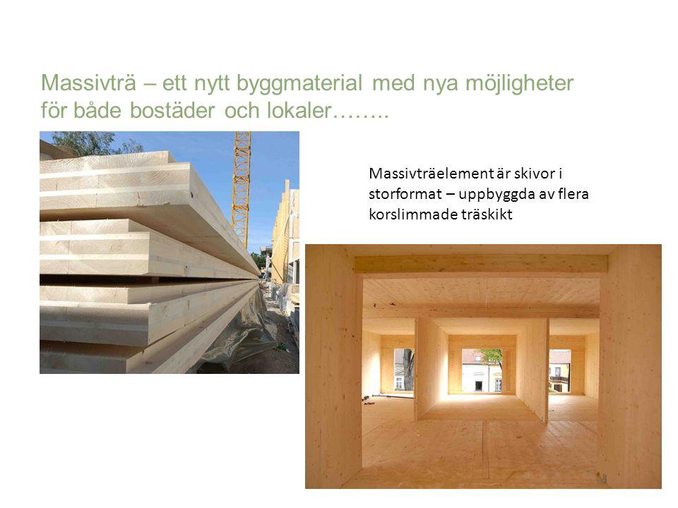 Massivträ – ett nytt byggmaterial med nya möjligheter för både bostäder och lokaler……..