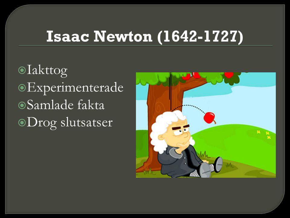 Isaac Newton (1642-1727) Iakttog Experimenterade Samlade fakta