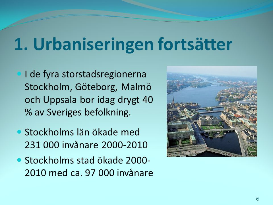 1. Urbaniseringen fortsätter