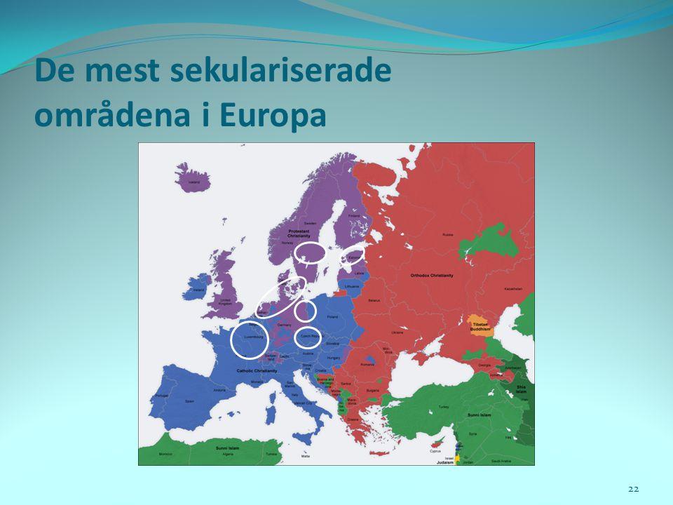 De mest sekulariserade områdena i Europa