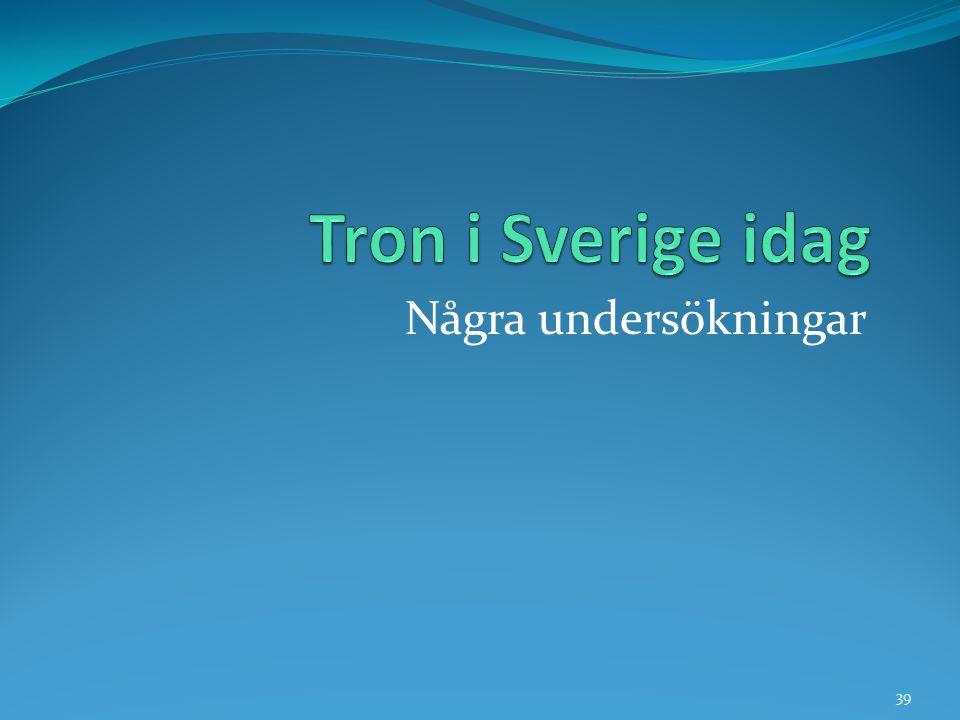 Tron i Sverige idag Några undersökningar