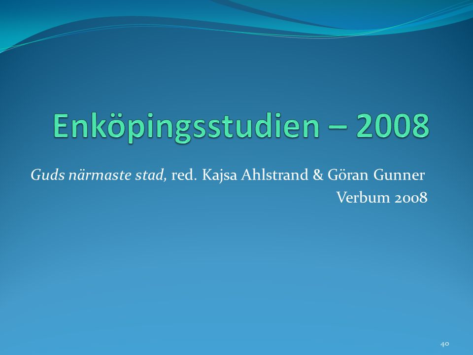 Enköpingsstudien – 2008 Guds närmaste stad, red. Kajsa Ahlstrand & Göran Gunner Verbum 2008