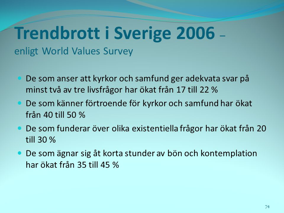 Trendbrott i Sverige 2006 – enligt World Values Survey
