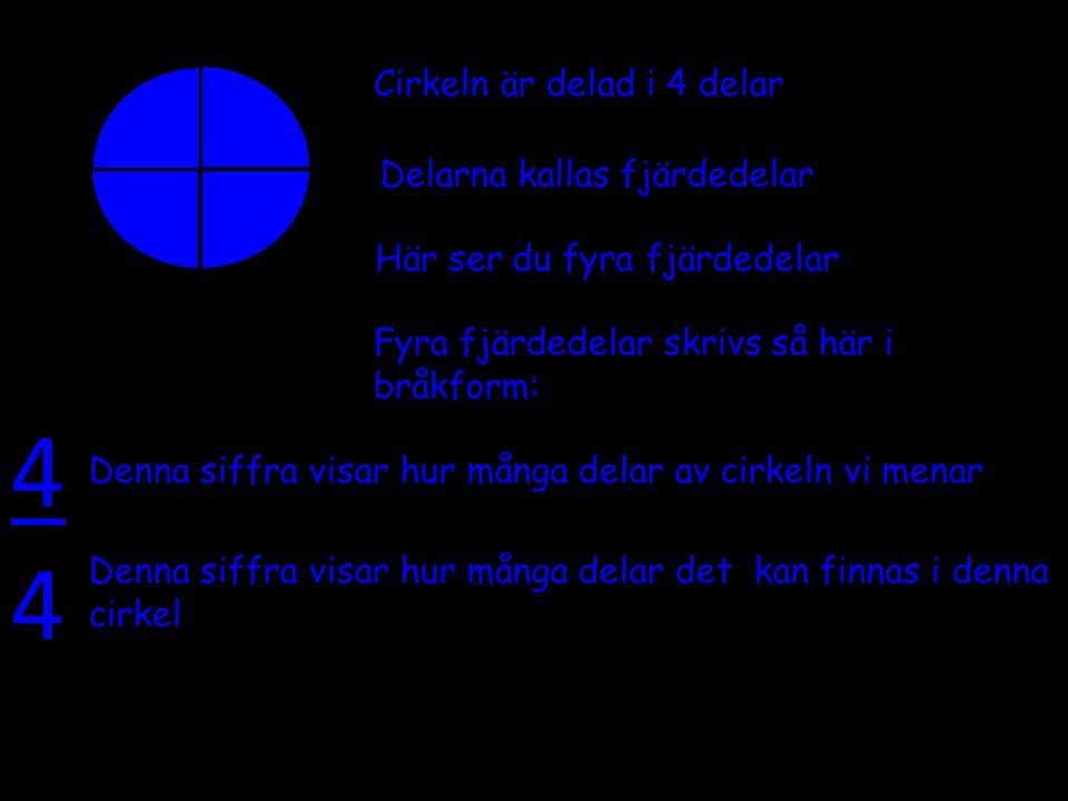 4 4 Cirkeln är delad i 4 delar Delarna kallas fjärdedelar