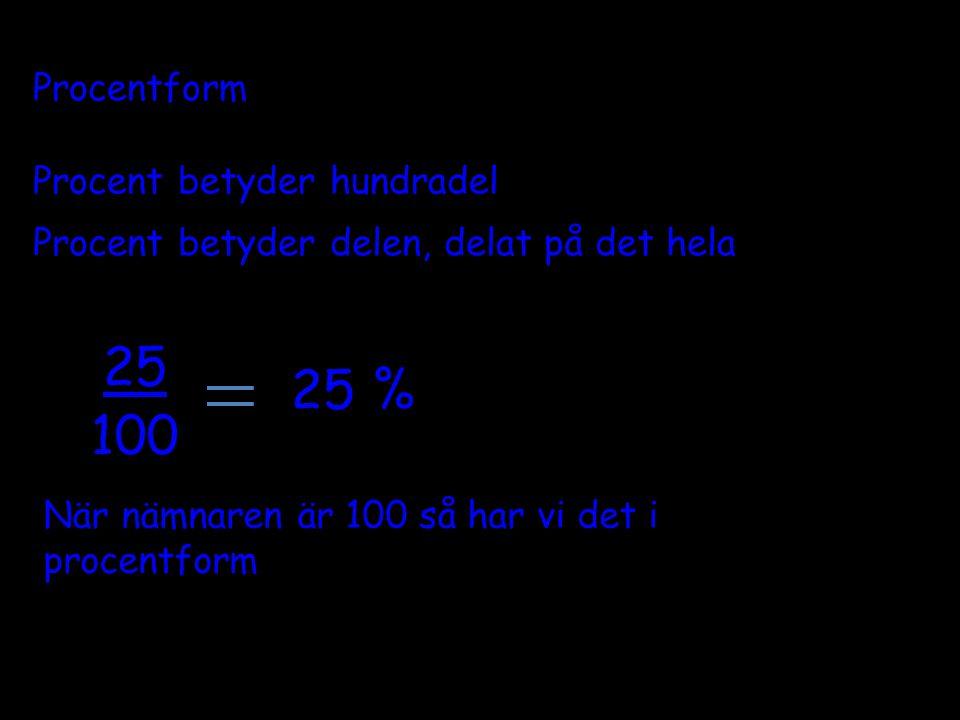 25 25 % 100 Procentform Procent betyder hundradel