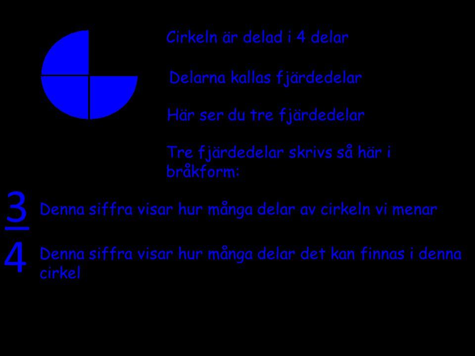 3 4 Cirkeln är delad i 4 delar Delarna kallas fjärdedelar