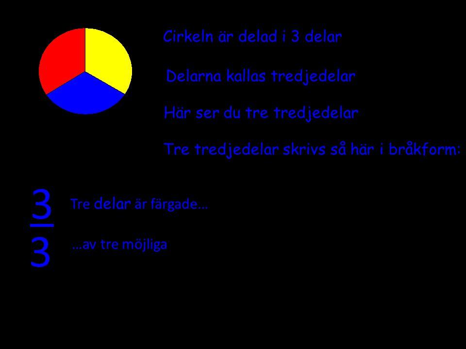 3 Cirkeln är delad i 3 delar Delarna kallas tredjedelar