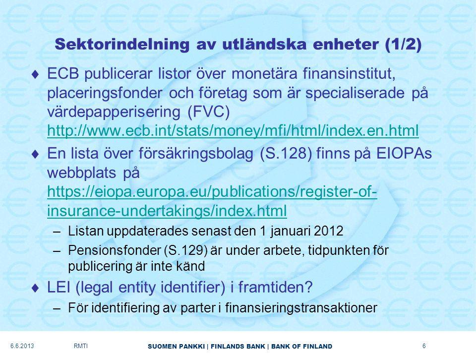 Sektorindelning av utländska enheter (1/2)