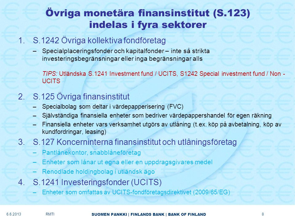 Övriga monetära finansinstitut (S.123) indelas i fyra sektorer