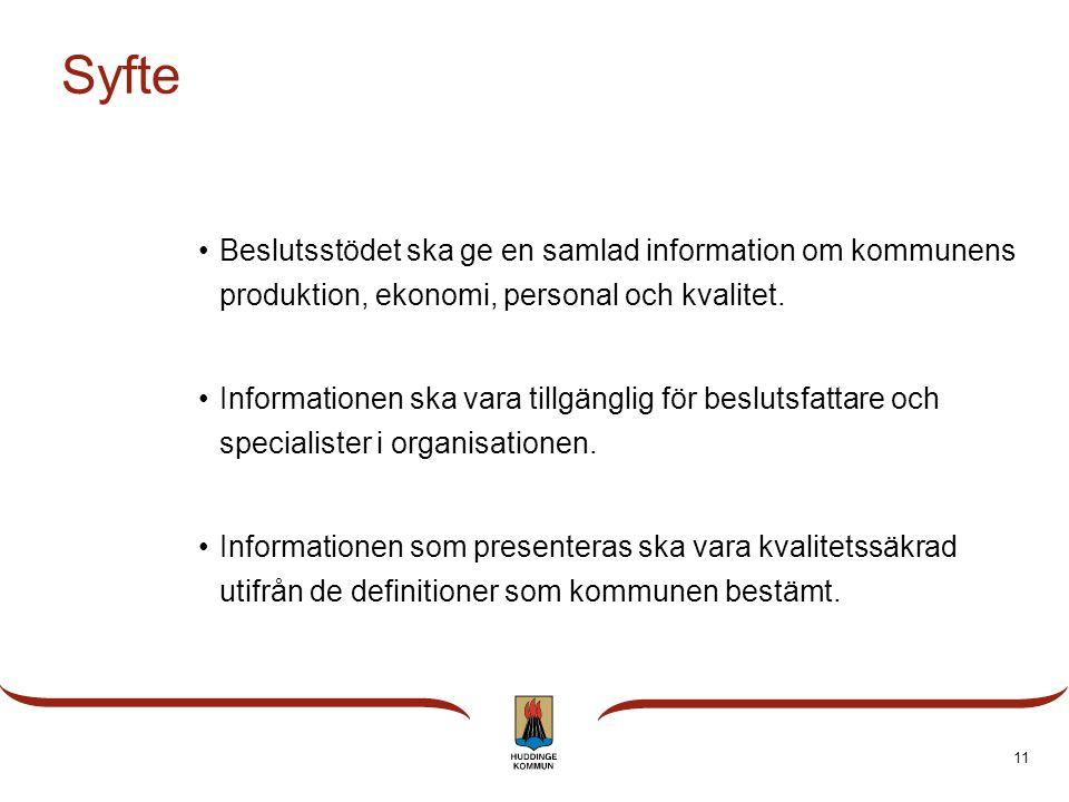 Syfte Beslutsstödet ska ge en samlad information om kommunens produktion, ekonomi, personal och kvalitet.