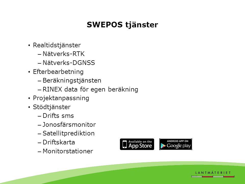 SWEPOS tjänster Realtidstjänster Nätverks-RTK Nätverks-DGNSS