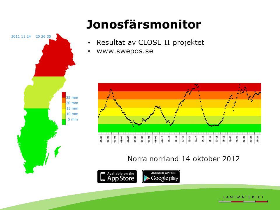 Jonosfärsmonitor Resultat av CLOSE II projektet www.swepos.se