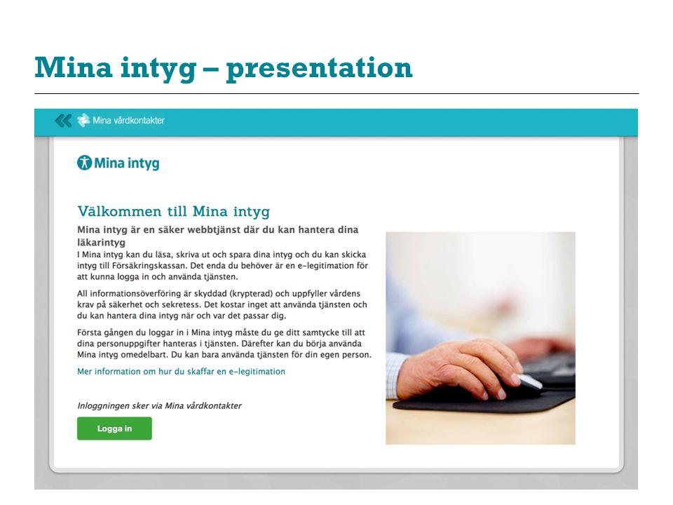 Mina intyg – presentation
