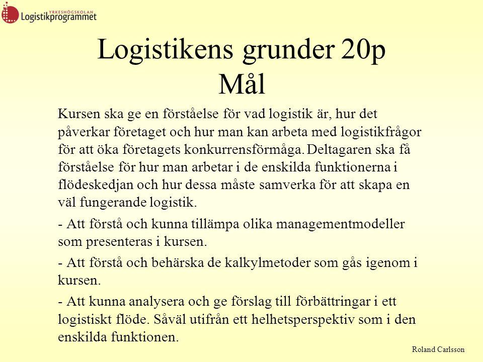 Logistikens grunder 20p Mål