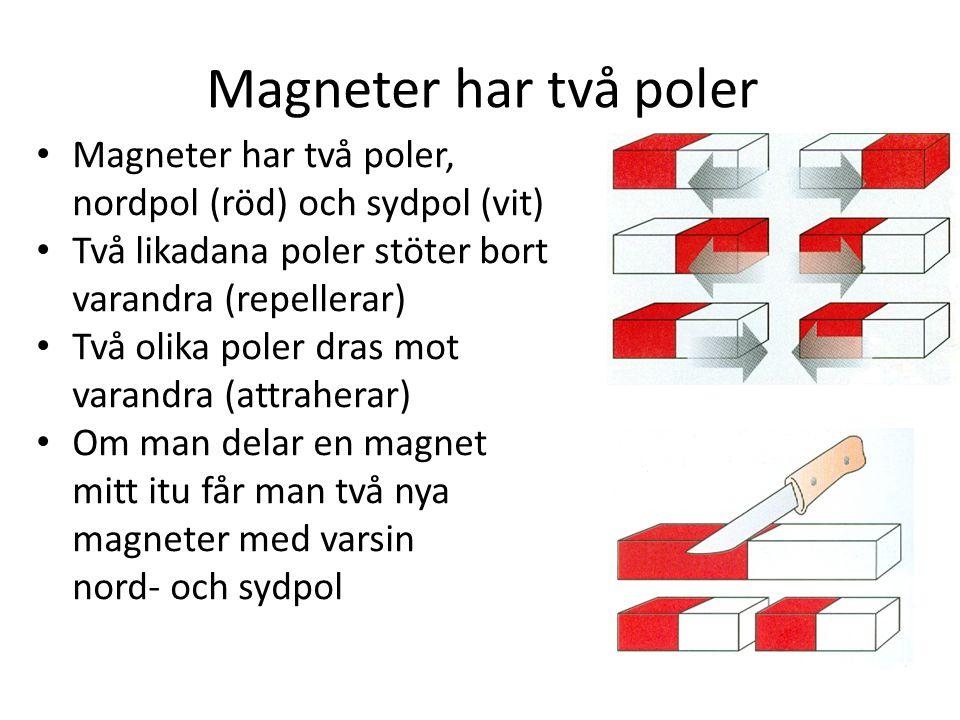 Magneter har två poler Magneter har två poler,