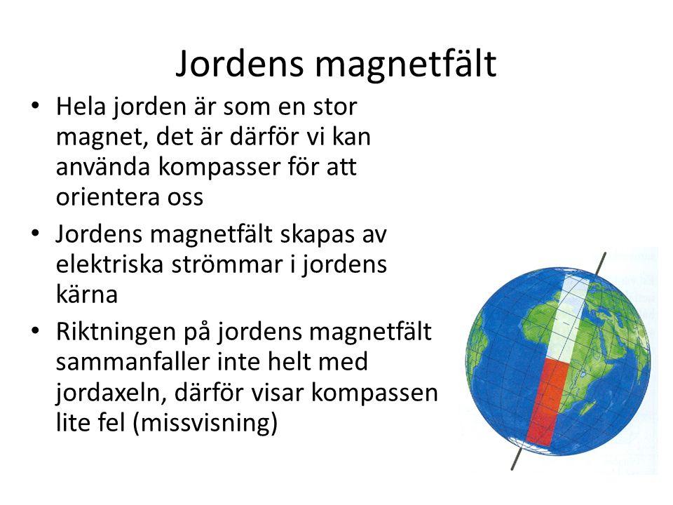Jordens magnetfält Hela jorden är som en stor magnet, det är därför vi kan använda kompasser för att orientera oss.
