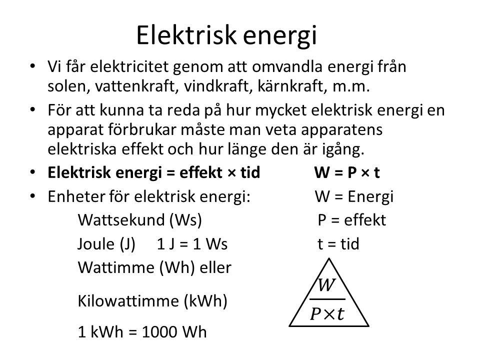 Elektrisk energi Vi får elektricitet genom att omvandla energi från solen, vattenkraft, vindkraft, kärnkraft, m.m.
