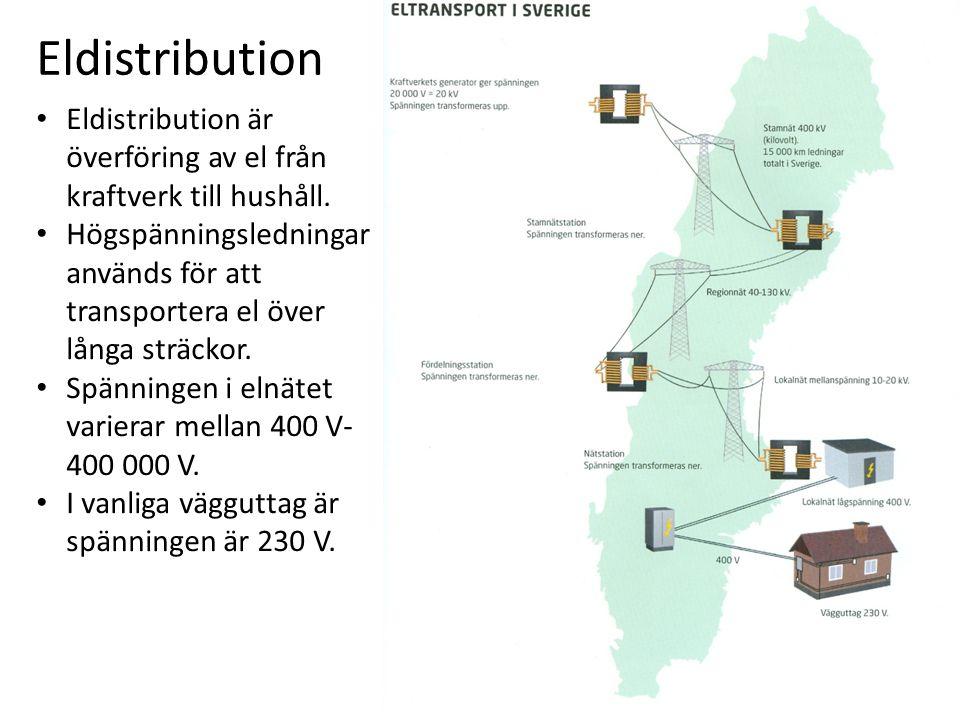 Eldistribution Eldistribution är överföring av el från kraftverk till hushåll.