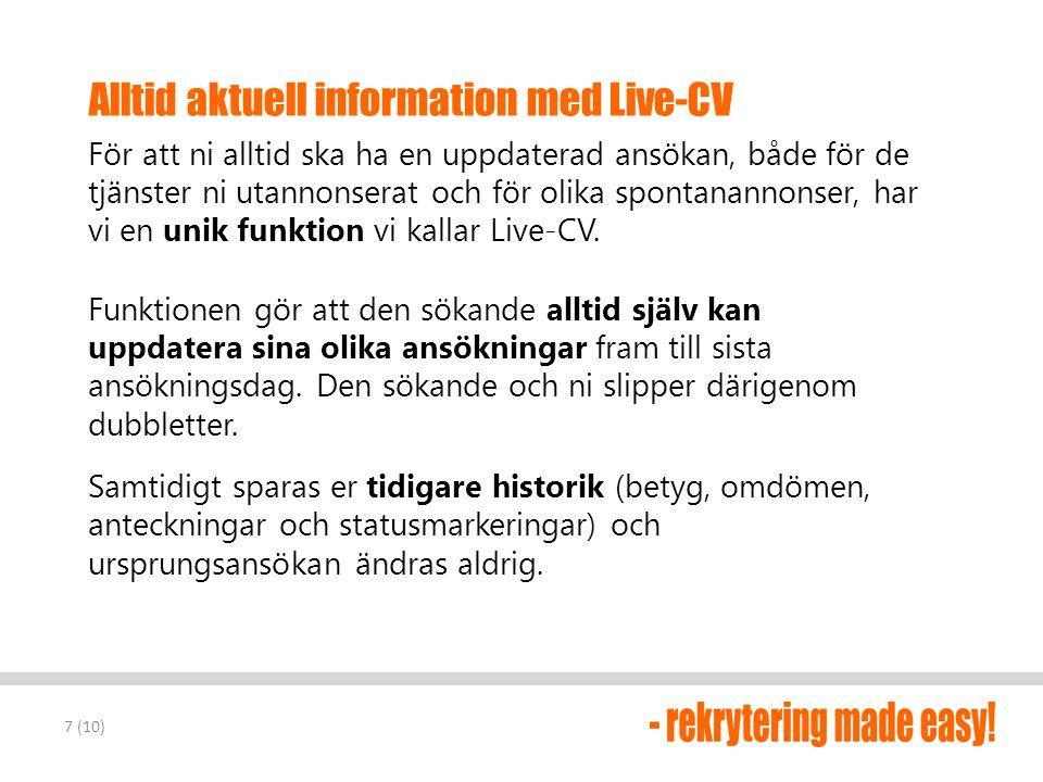 Alltid aktuell information med Live-CV