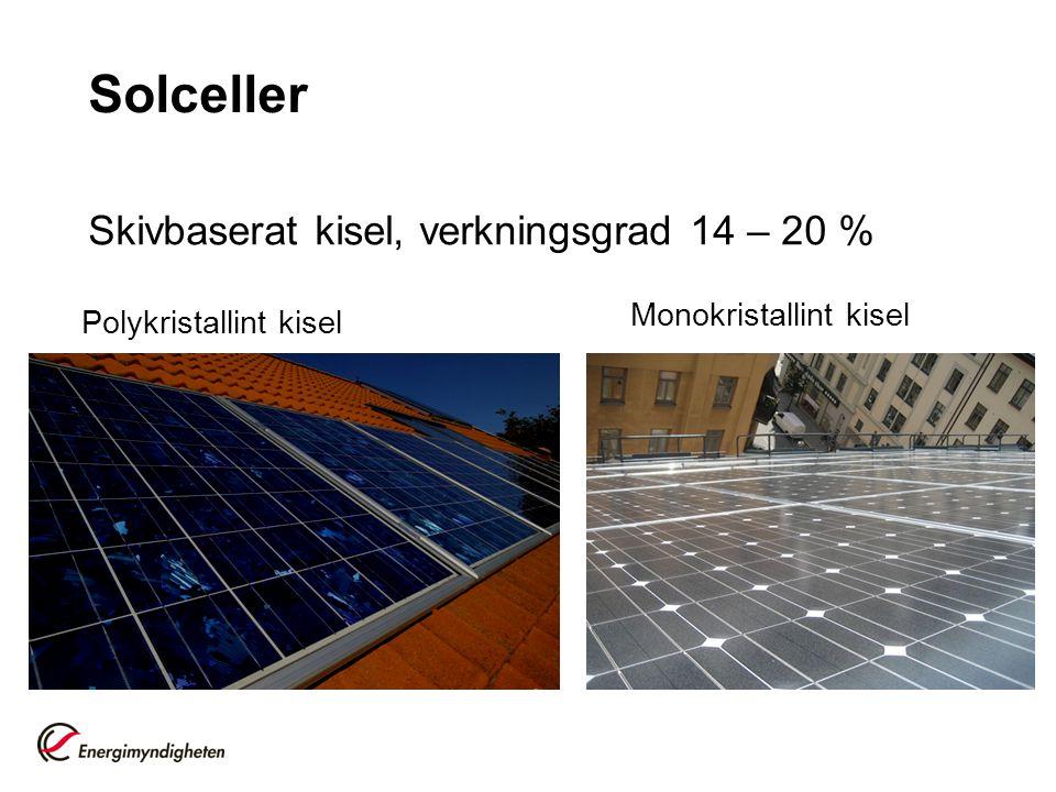 Solceller Skivbaserat kisel, verkningsgrad 14 – 20 %